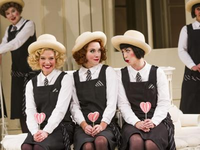 ENO1516 The Mikado: Fiona Canfield, Mary Bevan and Rachael Lloyd (c) Tristram Kenton