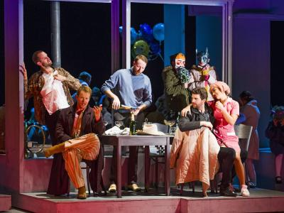 ENO's 1516 La boheme, Ashley Riches, Duncan Rock, Nicholas Masters, Zach Borichevsky, Corinne Winters (c) Tristram Kenton