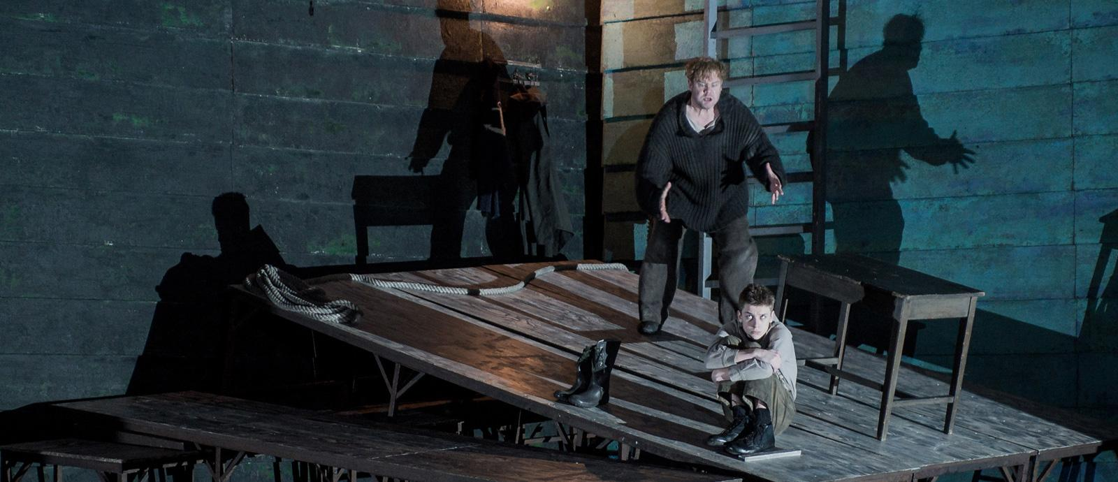 ENO's Peter Grimes - Stuart Skelton as Peter Grimes and Timothy Kirrage as the Apprentice. Photo by Robert Workman.