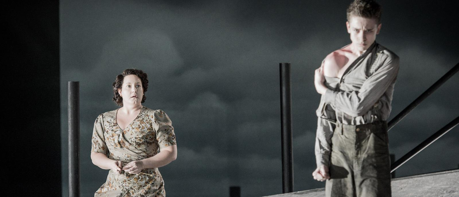ENO's Peter Grimes - Elza Van Den Heever as Ellen Orford and Timothy Kirrage as the Apprentice.Photo by Robert Workman