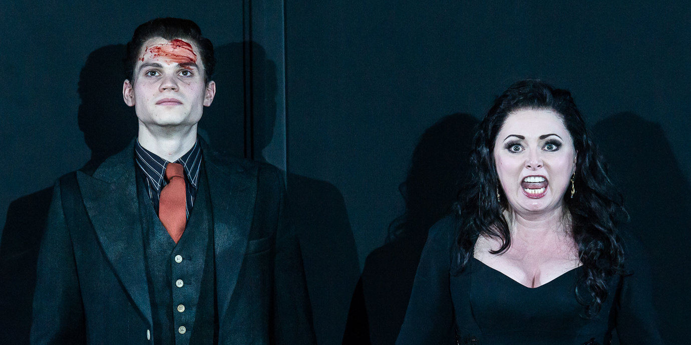 ENO's Rodelinda - Matt Casey as Flavio and Rebecca Evans as Rodelinda. Photo by Clive Barda