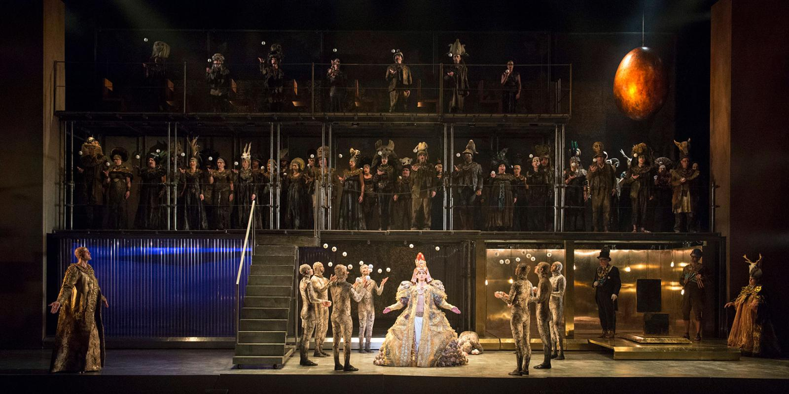 A picture of the full cast and Chorus of ENO's Akhnaten. Picture by Richard Hubert Smith