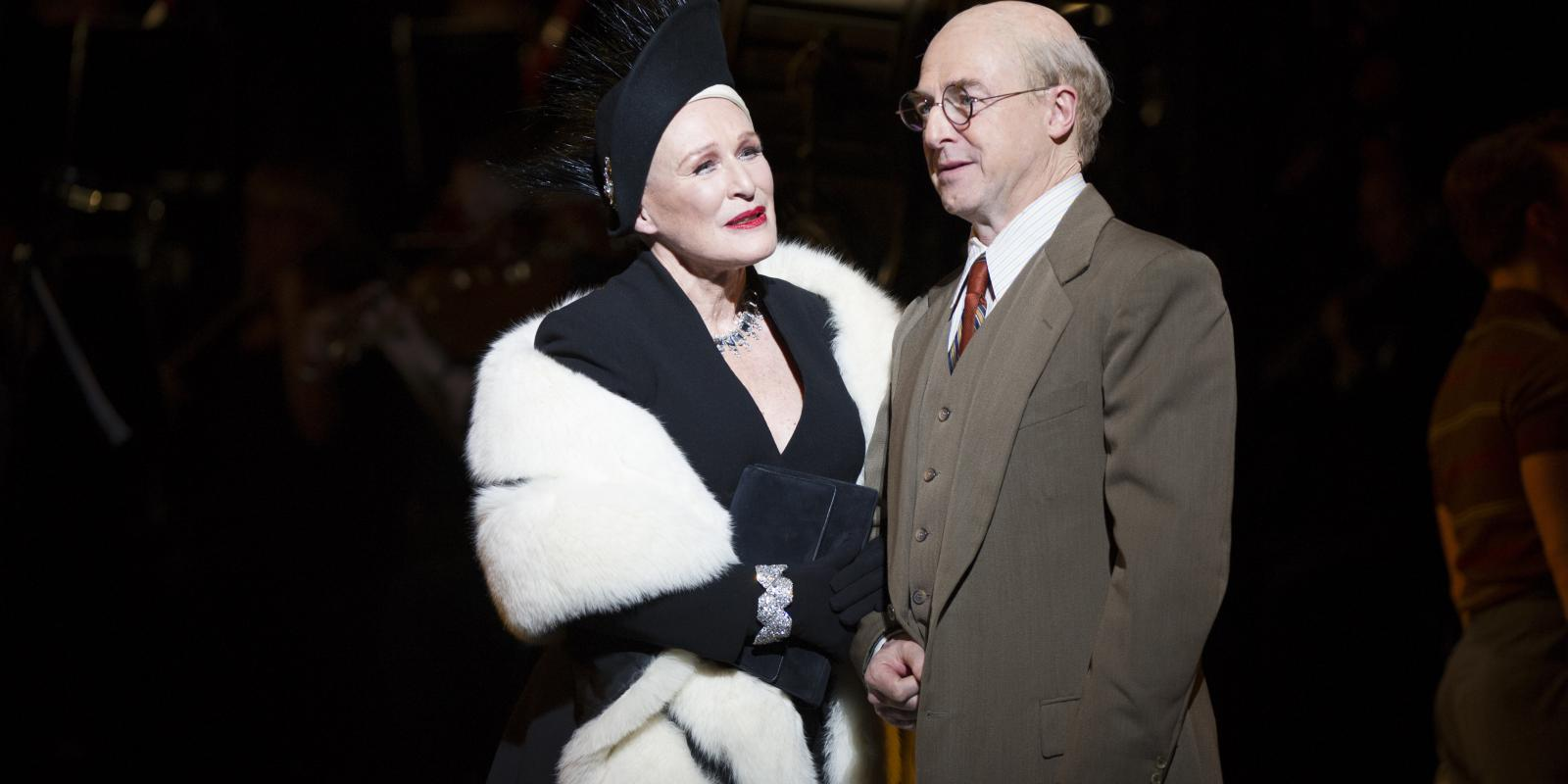 Glenn Close (Norma Desmond), Julian Forsyth (Cecil B DeMille). Photo by Richard Hubert Smith.