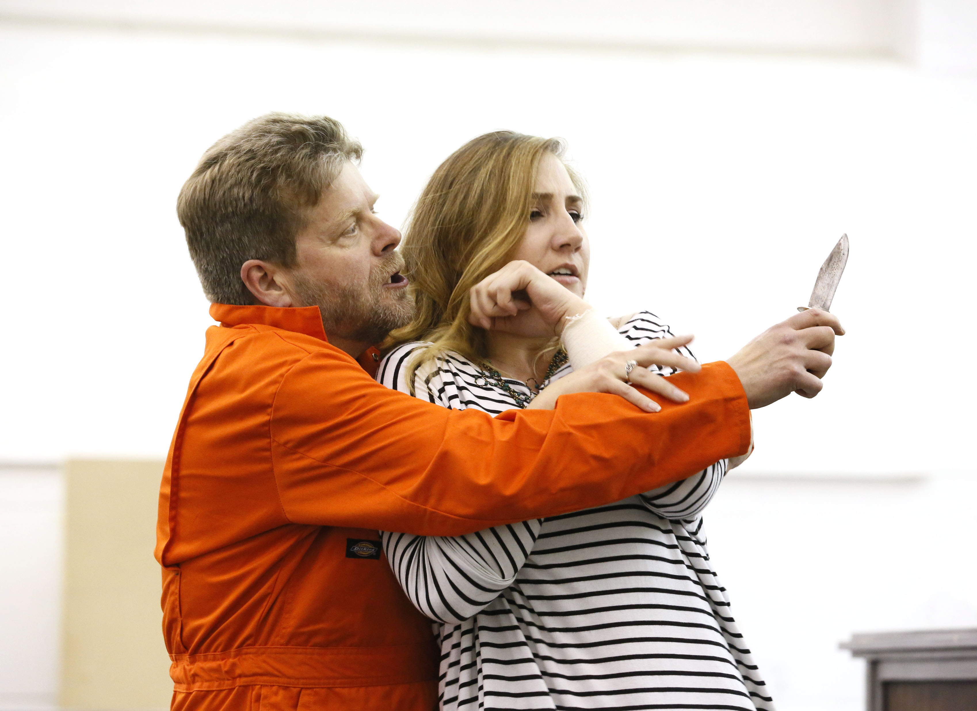 ENO Jenufa Rehearsal Peter Hoare and Laura Wilde (c) Donald Cooper
