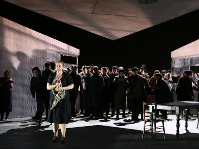 ENO Jenufa - Laura Wilde and ENO Chorus. Photo: Donald Cooper