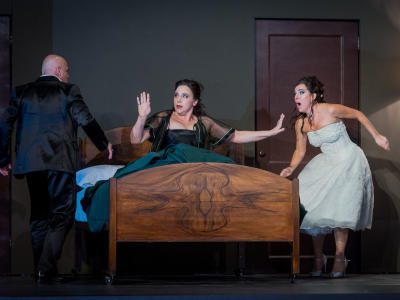 ENO Don Giovanni Christopher Purves Christine Rice and Mary Bevan (c) Robert Workman