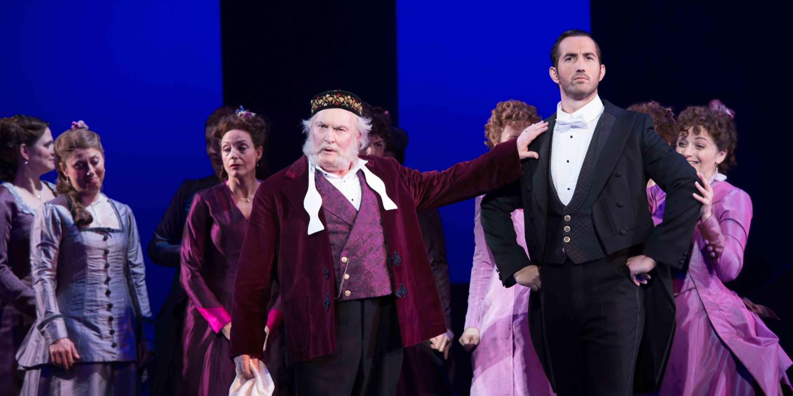 ENO's The Pirates of Penzance - Andrew Shore as the Major-General and David Webb as Frederic. Photo by Tom Bowles
