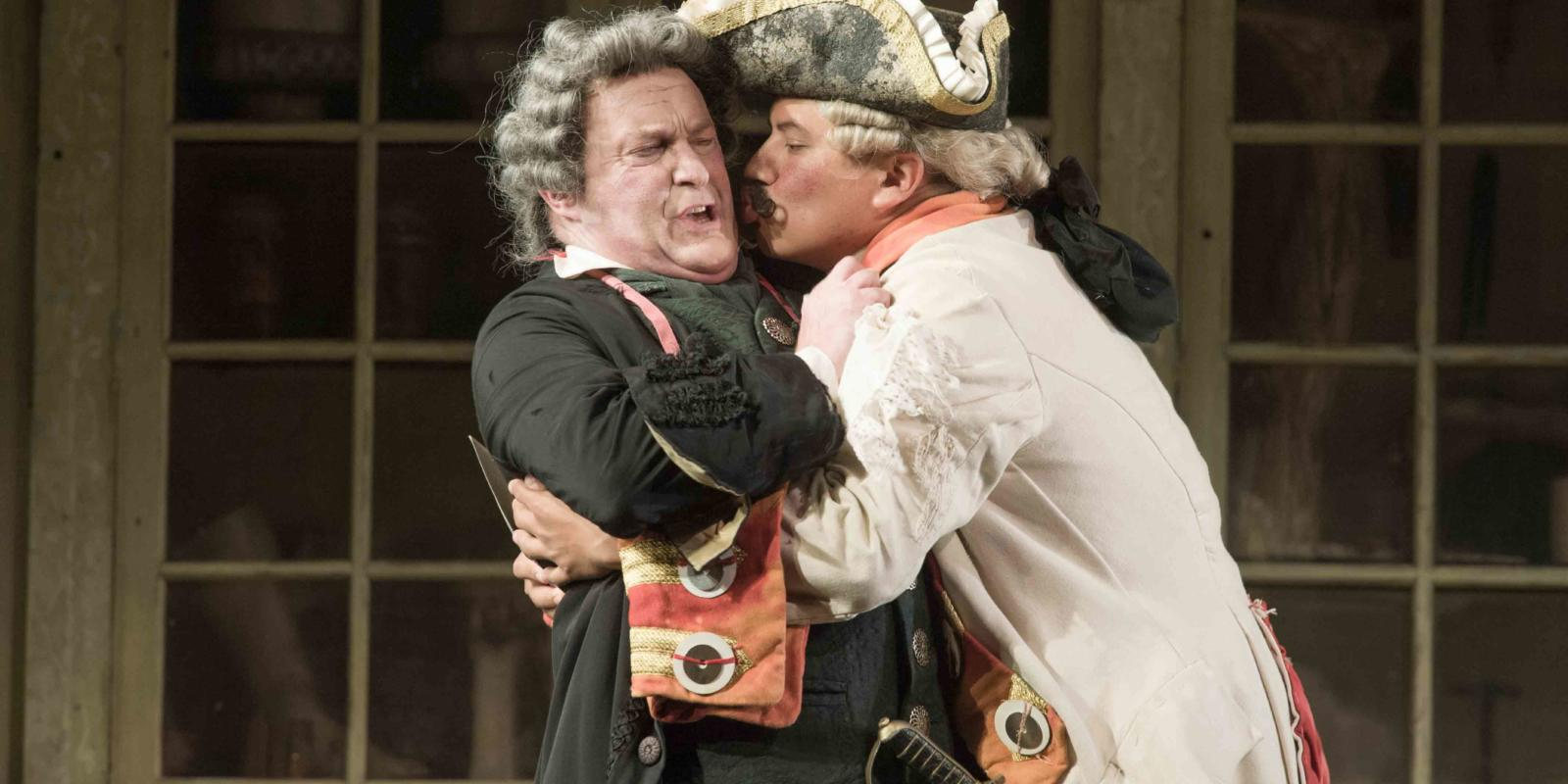 An image of Andrew Shore and Eleazar Rodriguez in Jonathan Miller's 2015 16 production of Barber of Seville