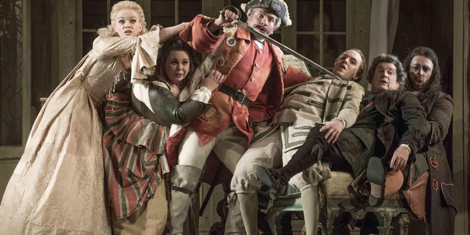 An image of the cast of Jonathan Miller's 2015 production of The Barber of Seville