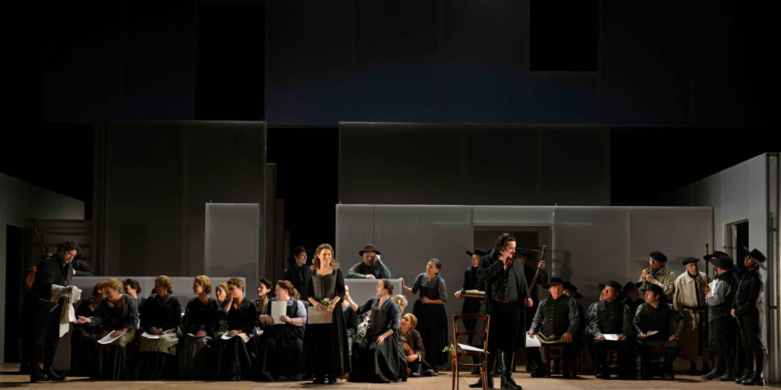 An image of the cast of Fiona Shaw's 2014 production of The Marriage of Figaro