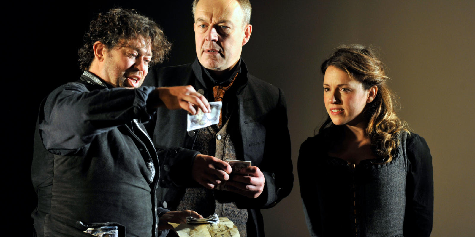 An image of David Stout, Jonathan Best and Mary Bevan in Fiona Shaw's 2014 production of The Marriage of Figaro