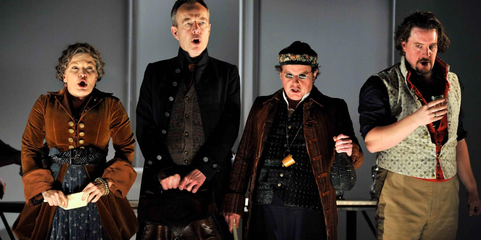 An image of Lucy Schaufer, Jonathan Best, Colin Judson and Benedict Nelson in Fiona Shaw's 2014 production of The Marriage of Figaro