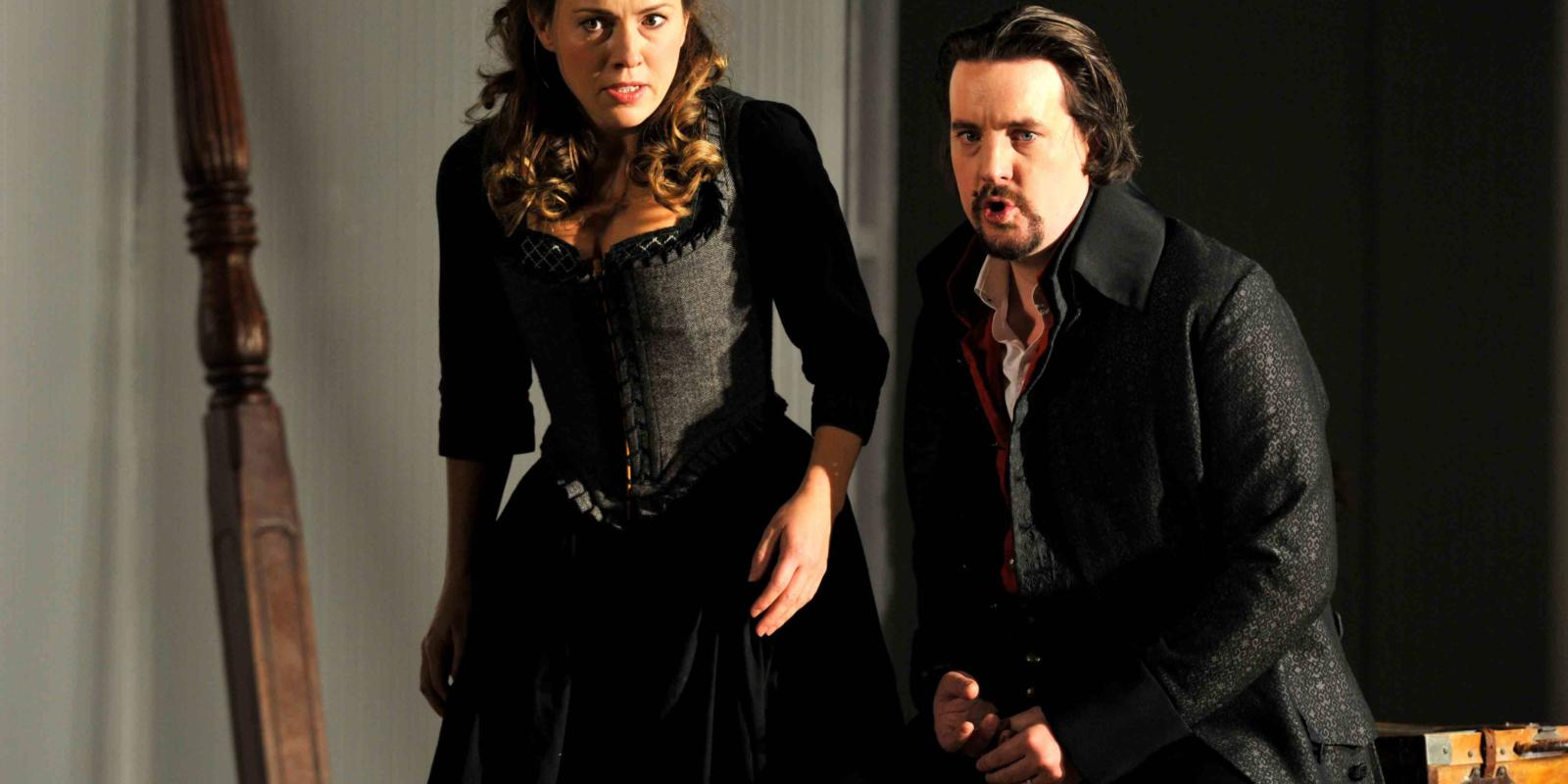 An image of Mary Bevan and Benedict Nelson in Fiona Shaw's 2014 production of The Marriage of Figaro