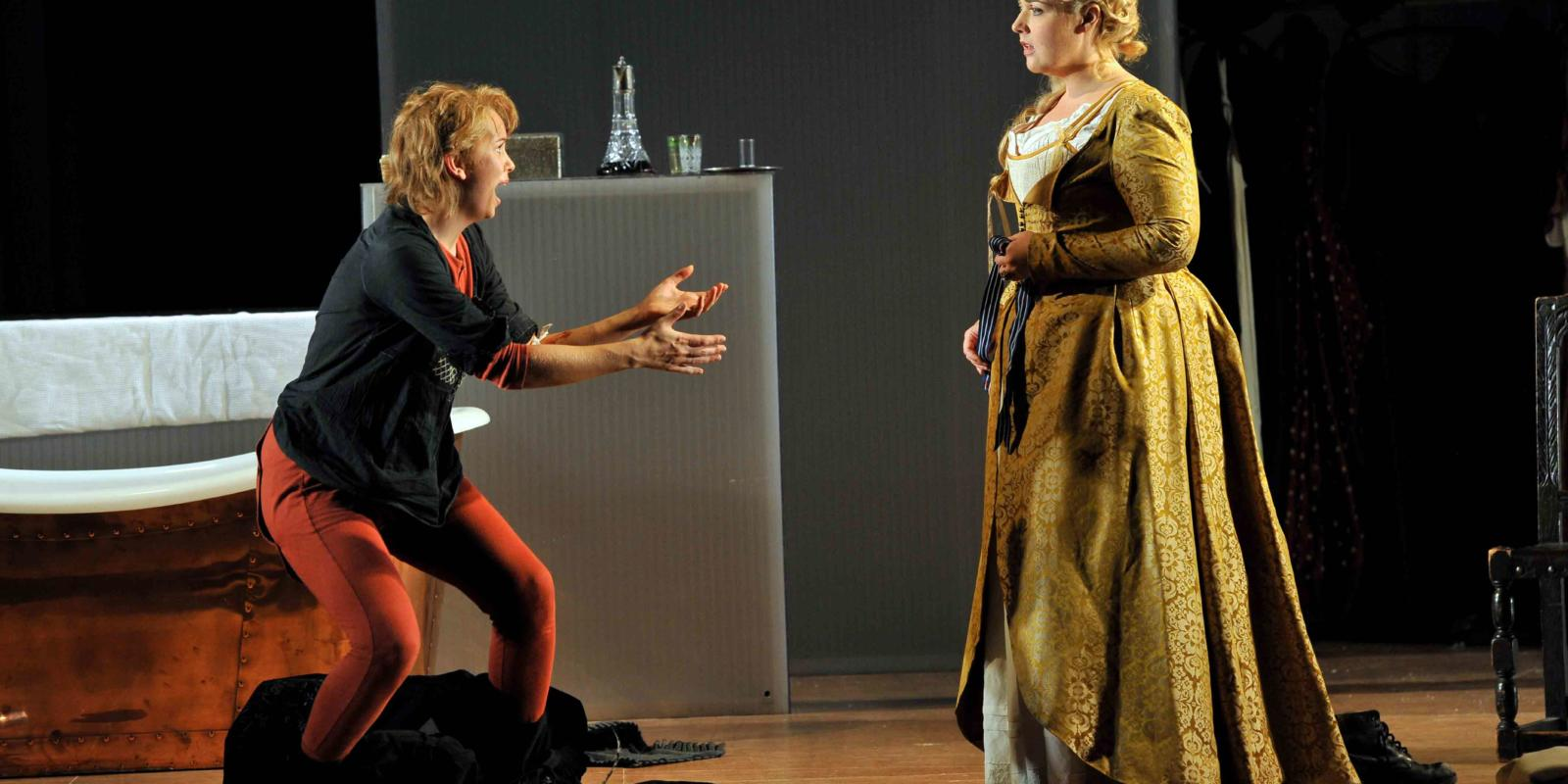 An image of Samantha Price and Sarah Jane Brandon in Fiona Shaw's 2014 production of The Marriage of Figaro