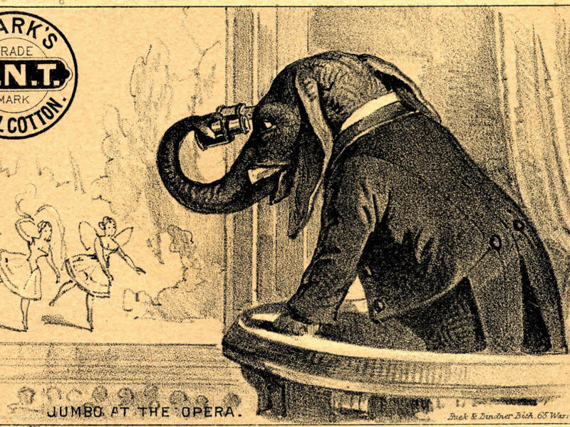 A 19th Century American Trade Card of an Elephant watching an opera from the balcony box