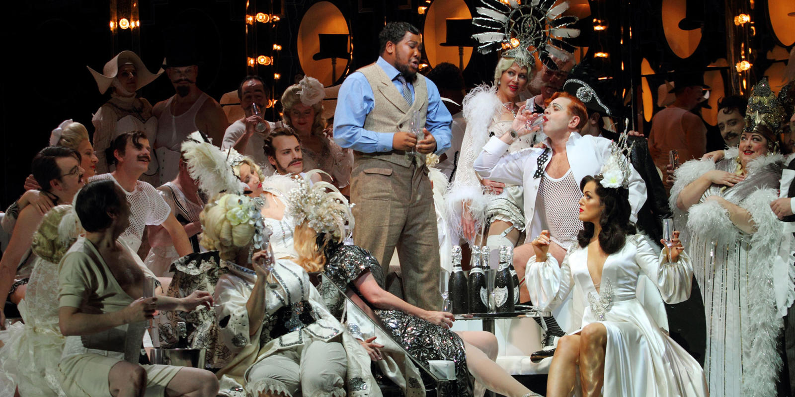 ENO Traviata Heather Shipp, Lukhanyo Moyake, Aled Hall and Claudia Boyle (c) Catherine Ashmore