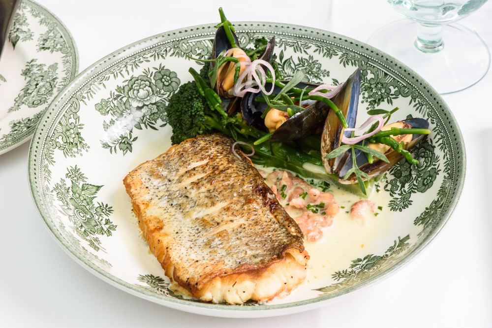 Seared hake fillet, shrimp & mussels, pickled shallots, purple sprouting broccoli