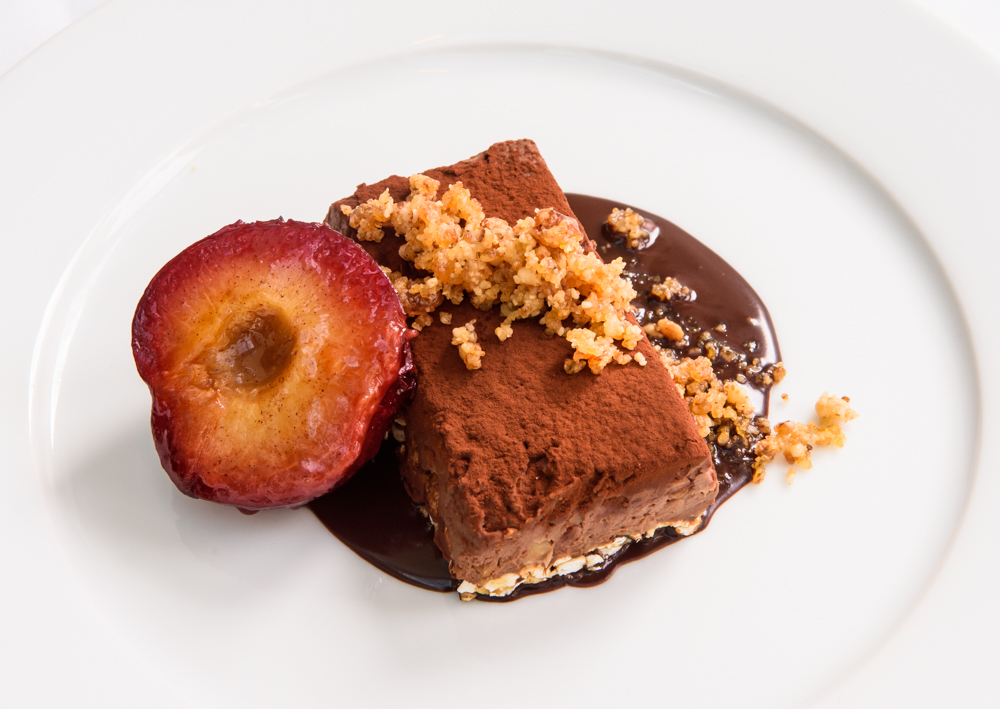 Rich chocolate mousse, Maple rice cake, walnut brittle, caramelized plum