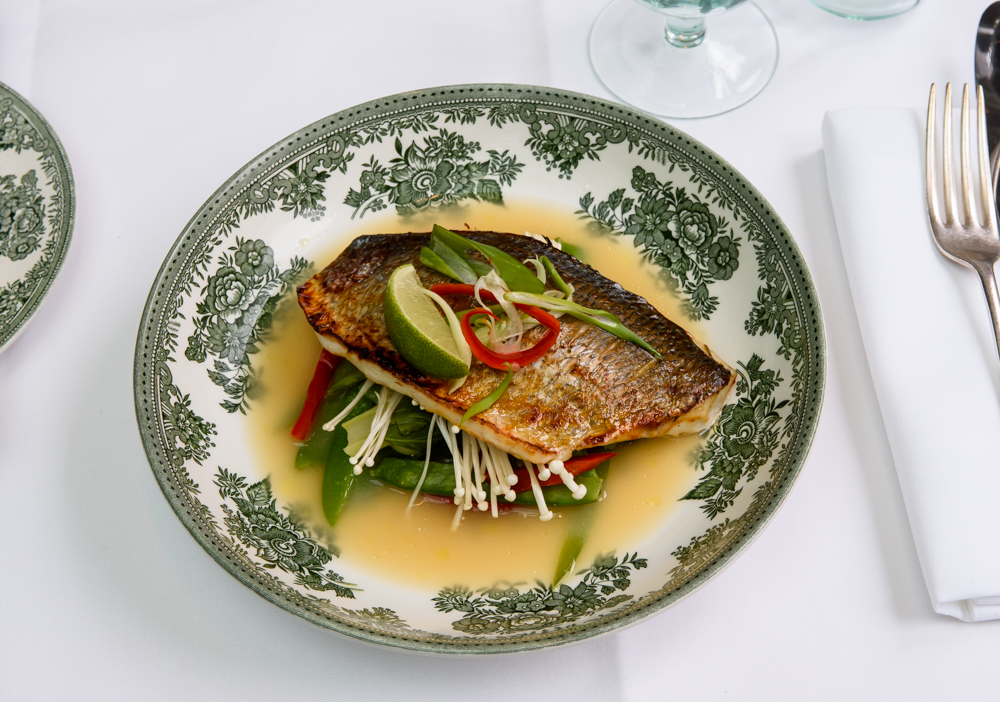 Miso roasted sea bream, bok choy, mange tout and enoki mushroom broth