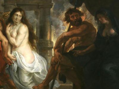 Oil panting of Eurydice gazing at Orpheus