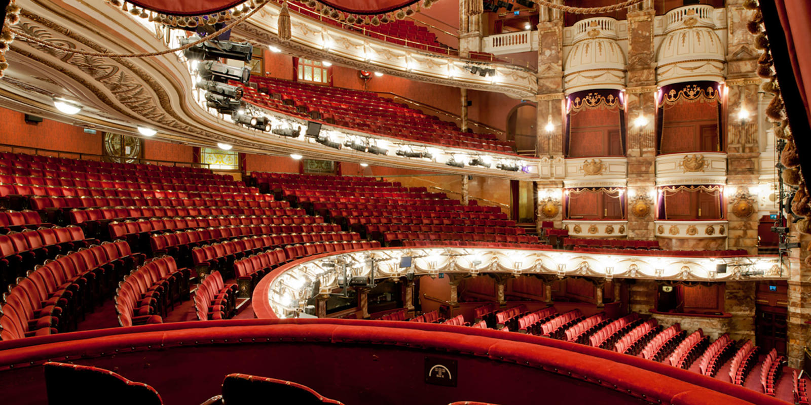 View of the London Coliseum auditorium from a dress circle box