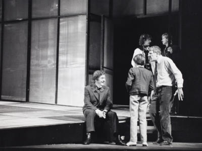 ENO The Turn of the Screw 1979: Philip Langridge as Peter Quint Michael Ginn as Miles talk with Director Jonathan Miller. With thanks to Gareth Roberts.