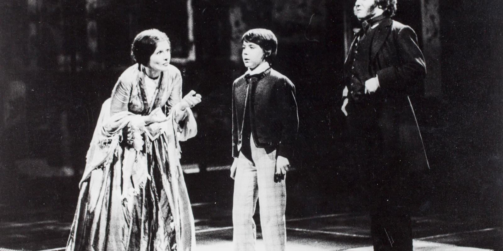 ENO The Turn of the Screw 1979: Eilene Hannan as The Governess and Michael Ginn as Miles with Phlip Langridge as Peter Quint. With thanks to Gareth Roberts.