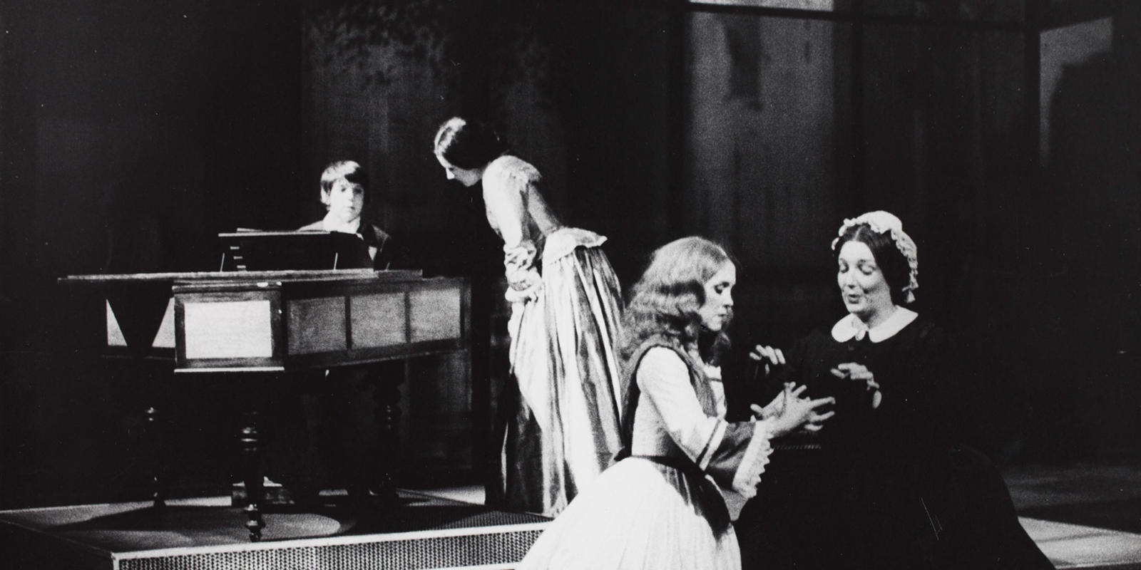 ENO The Turn of the Screw 1979: Michael Ginn as Miles, Eilene Hannan as the Governess, Iris Saunders as Flora and Ava June as Mrs Grose. With thanks to Gareth Roberts.