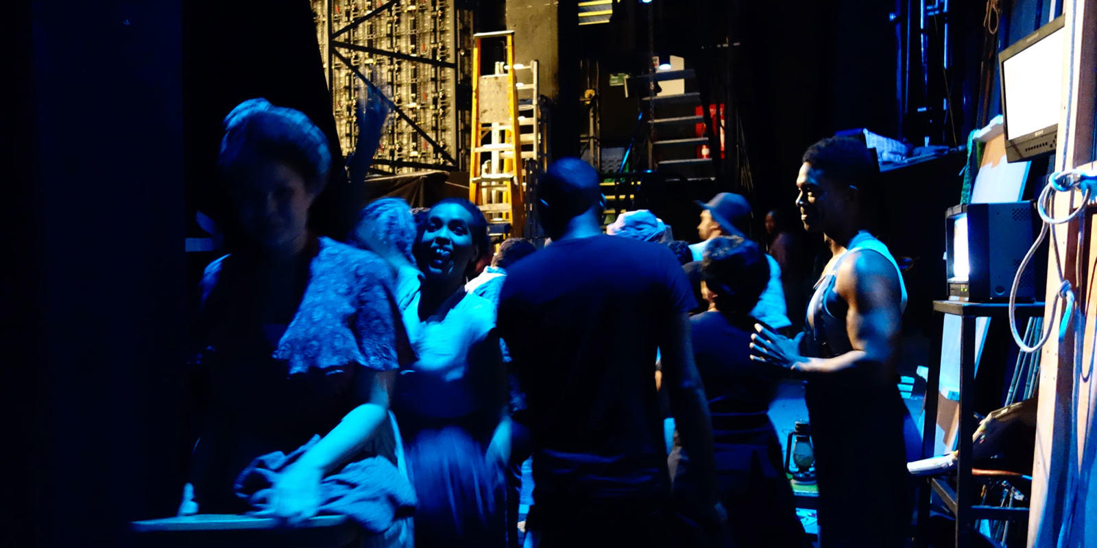 ENO Porgy and Bess: Rachel Oyawale, Nmon Ford and fellow cast mates between scenes backstage