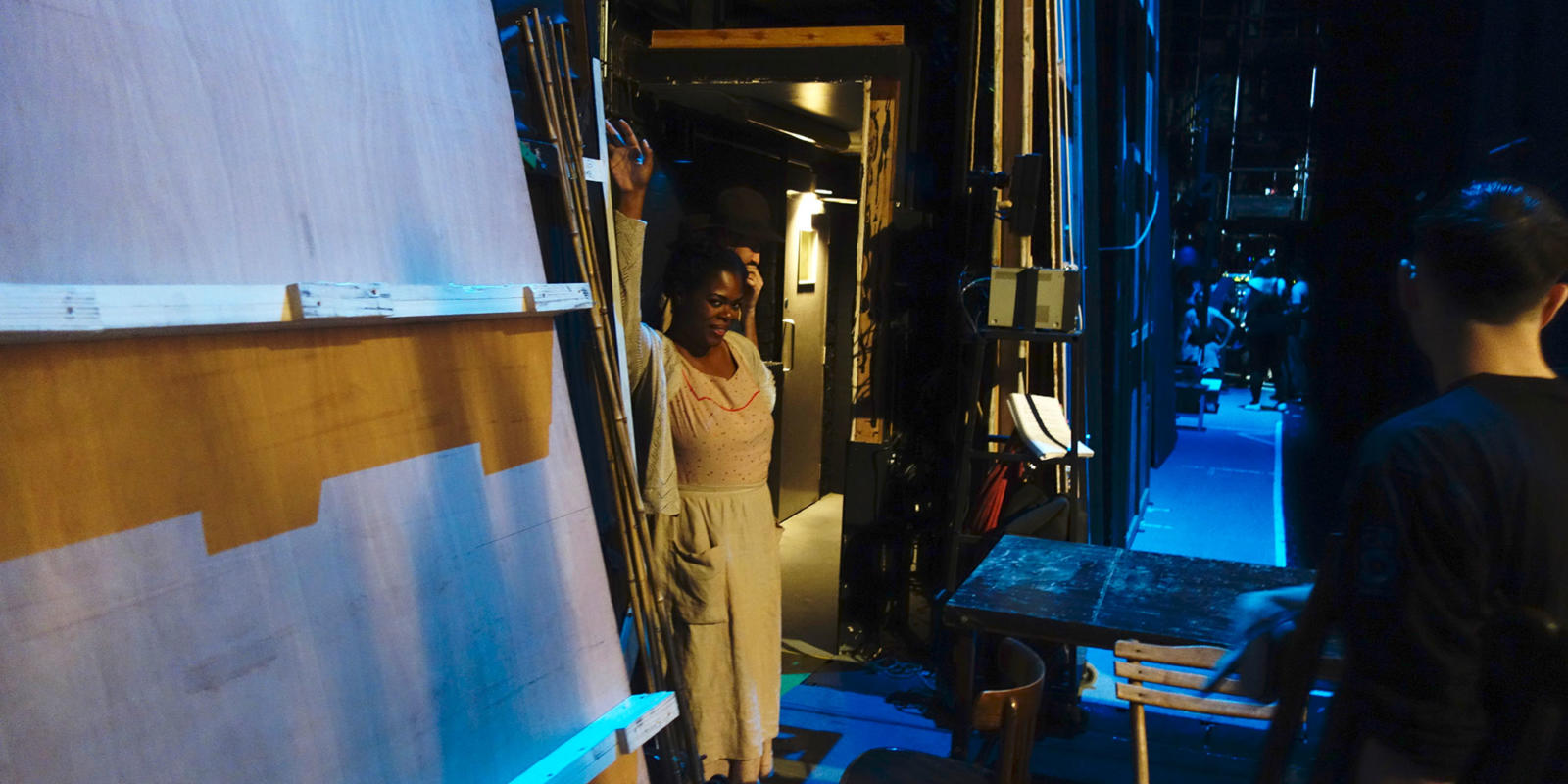 Sarah-Jane Lewis, who sings the role of Anne, waiting in the wings