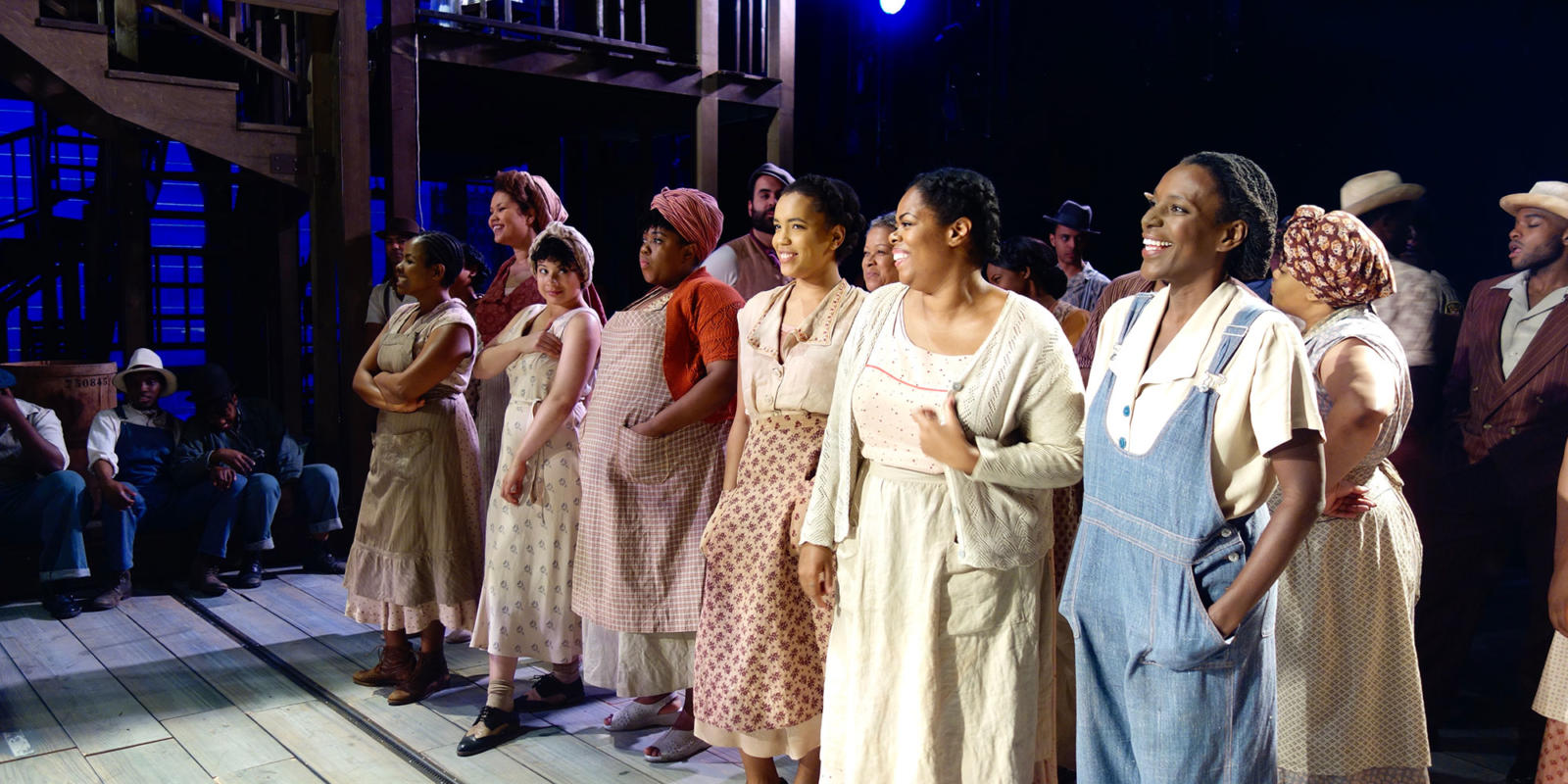 ENO Porgy and Bess: Nozuko Teto (Strawberry Woman), Simone Ibbett-Brown, Isabelle Peters, Fikile Mthethwa, Rachel Oyawale, Sarah-Jane Lewis (Annie) and Jordene Thomas on stage after the show