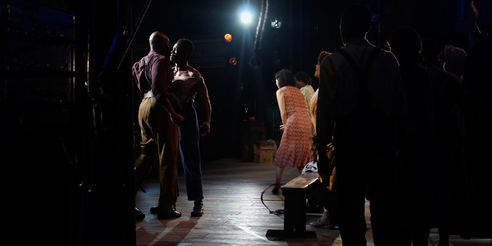 Eric Greene (Porgy), Nmon Ford (Crown) and Nicole Cabell (Bess) on stage