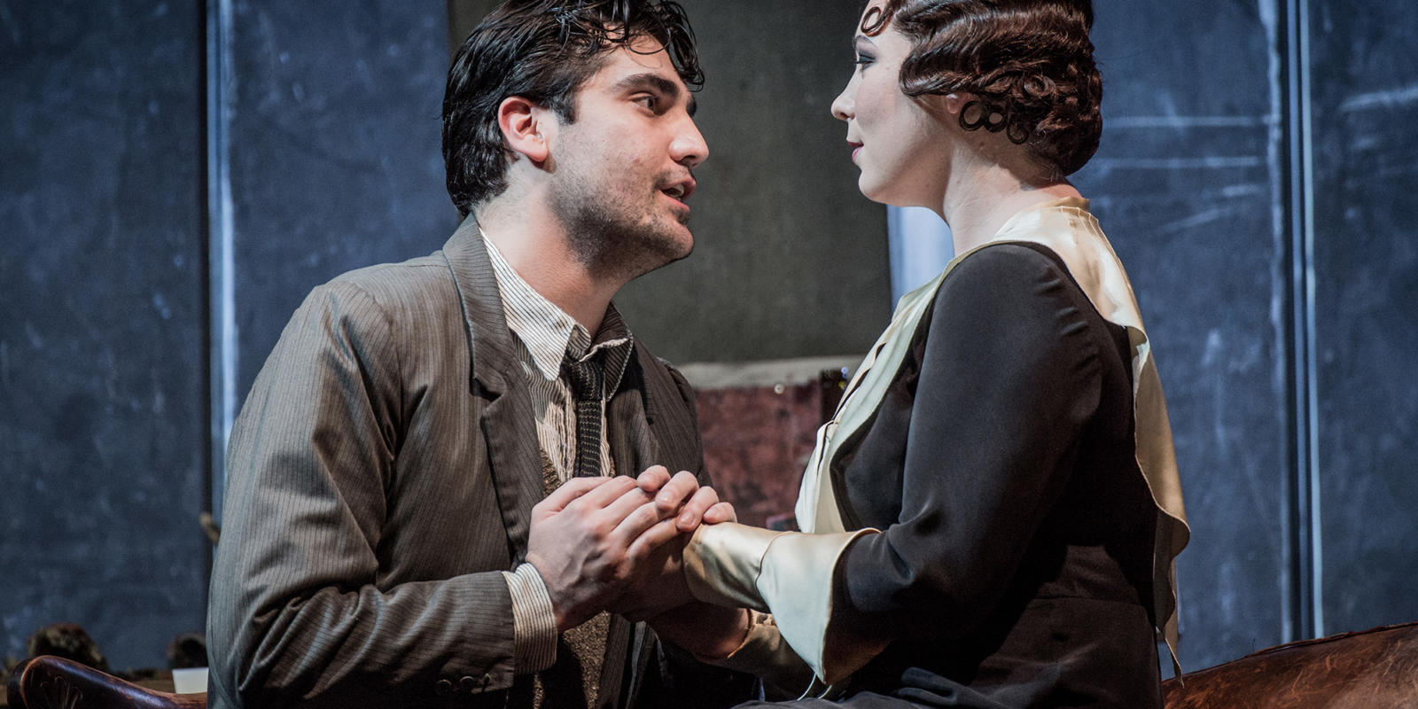 ENO La bohème: Jonathan Tetelman as Rodolfo Natalya Romaniw as Mimi (c) Robert Workman