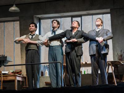 ENO La bohème: The Bohemians Jonathan Tetelman Nicholas Lester David Soar Bozidar Smiljanic (c) Robert Workman
