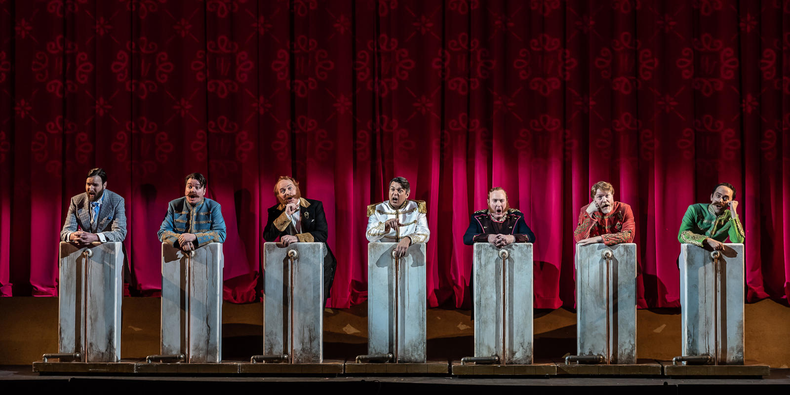 ENO The Merry Widow: (Left to right) Nicholas Lester; Adam Sullivan; Jamie MacDougall; Nathan Gunn; Andrew Shore; Paul Sheehan © Clive Barda
