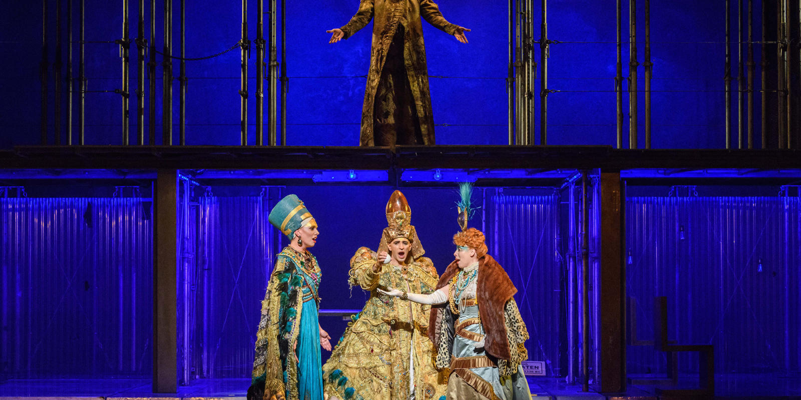 ENO1819 Akhnaten: Katie Stevenson Anthony Roth Costanzo Rebecca Bottone and Zachary James © Jane Hobson