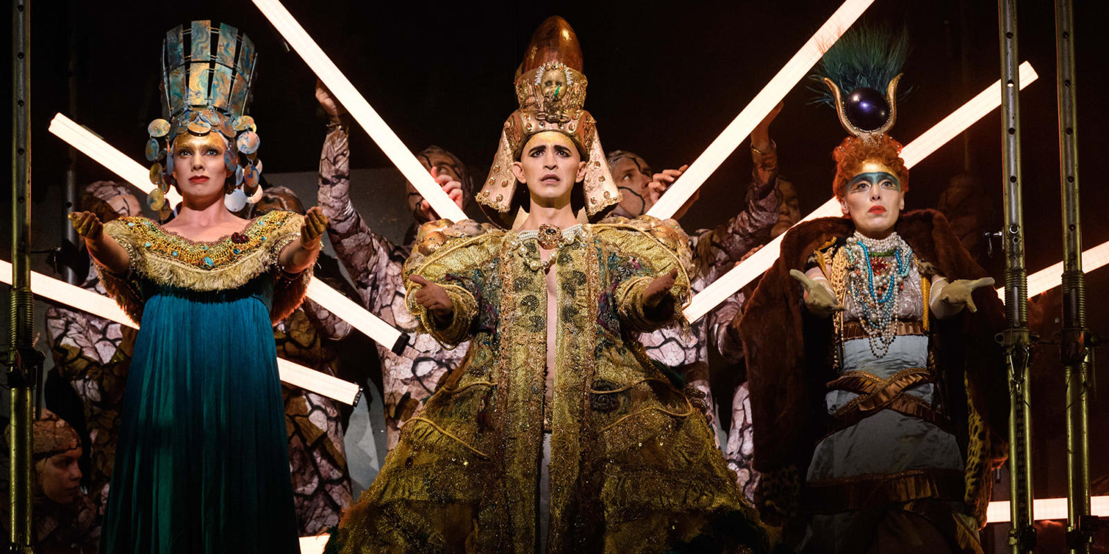 ENO1819 Akhnaten: Katie Stevenson, Anthony Roth Costanzo and Rebecca Bottone © Jane Hobson