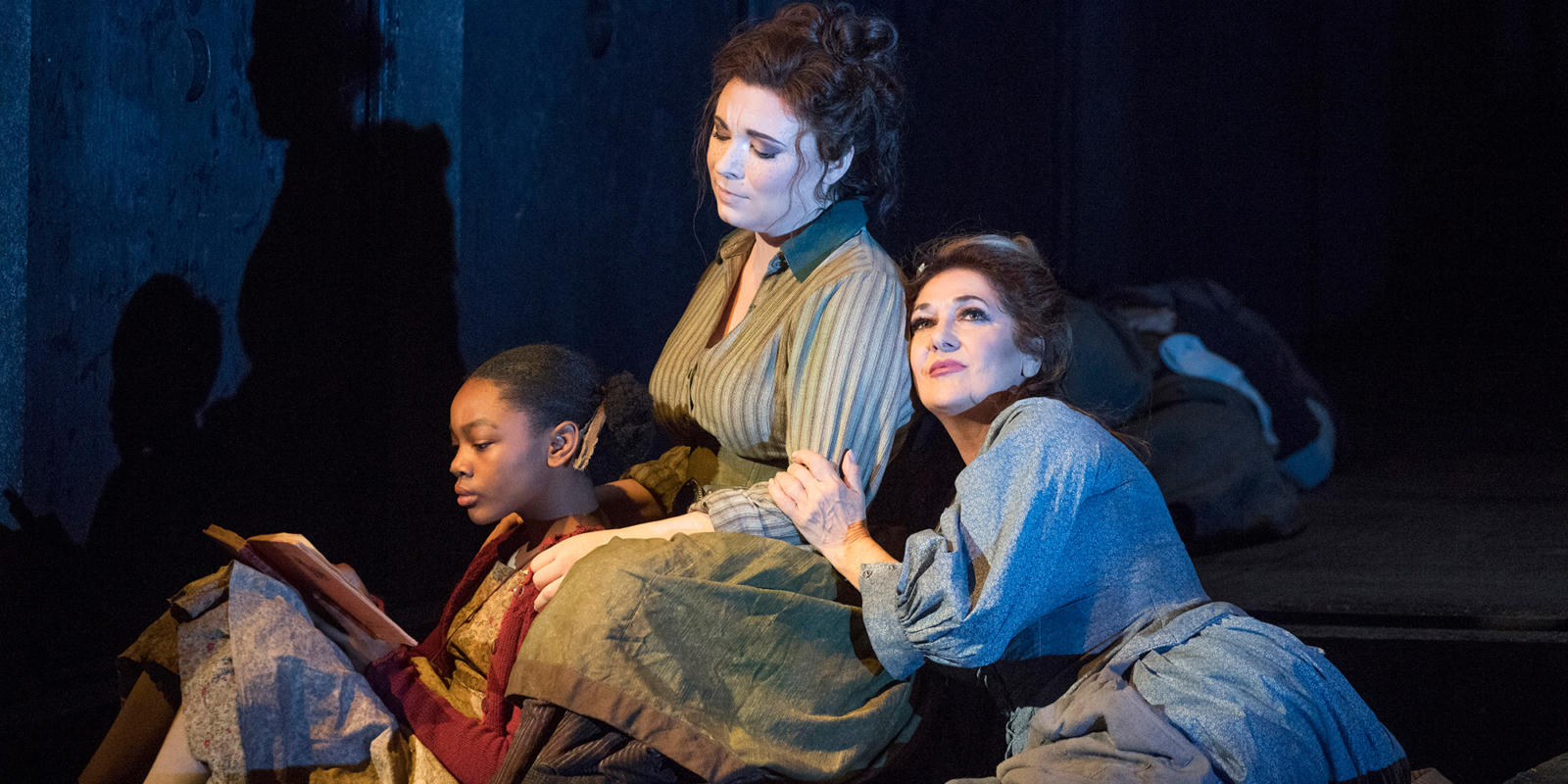 ENO 2018/19 Jack the Ripper: The Women of Whitechapel: Ashirah Foster Notice, Natalya Romaniw and Marie McLaughlin © Alastair Muir
