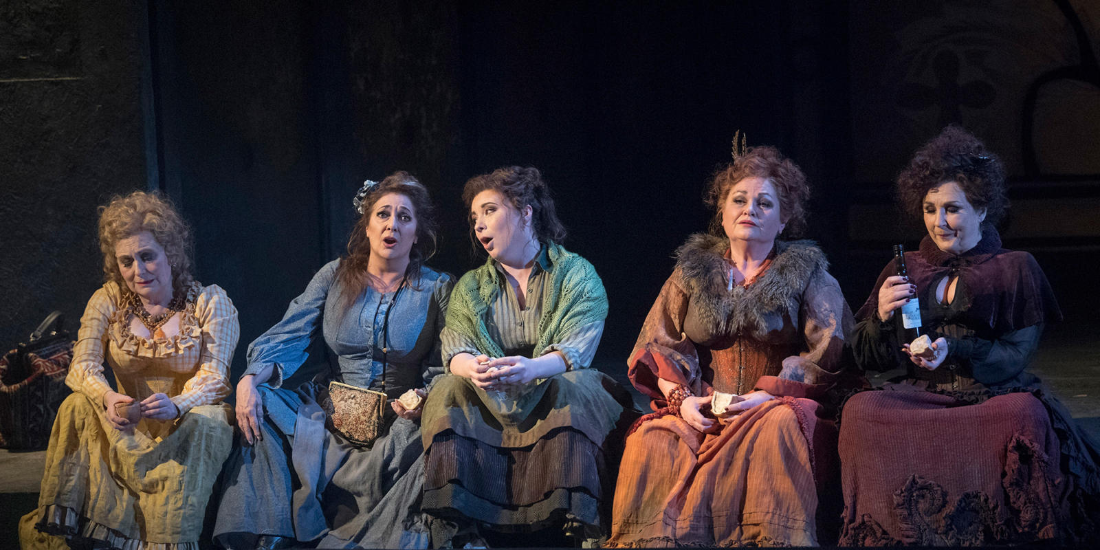 ENO 2018/19 Jack the Ripper: The Women of Whitechapel: (from left to right) Janis Kelly, Marie McLaughlin, Natalya Romaniw, Susan Bullock and Lesley Garrett © Alastair Muir