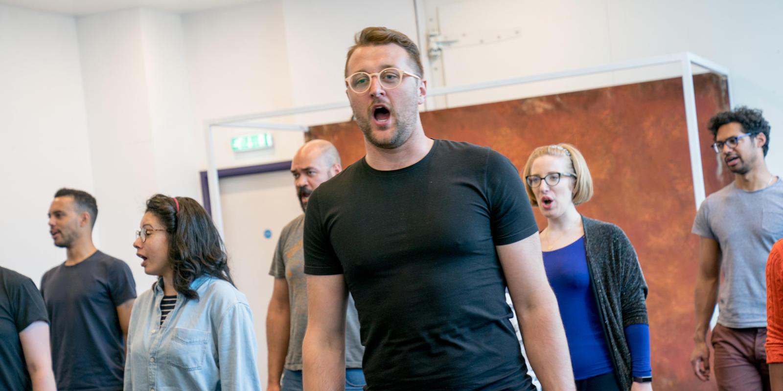 The Chorus rehearsing. Dido at Unicorn Theatre. (c) Craig Sugden