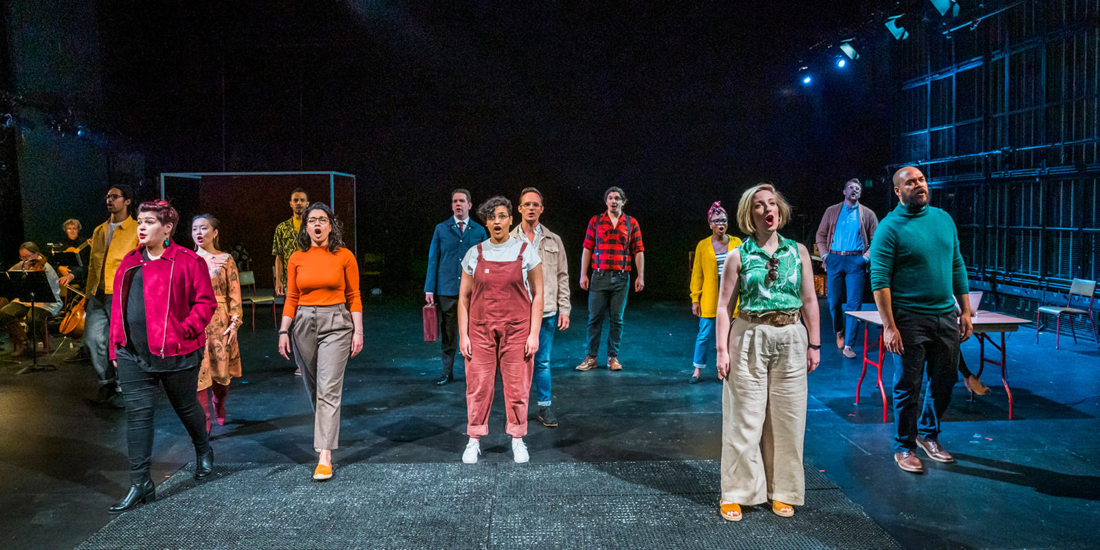 Eyra Norman as Belinda (central) with the Chorus in Dido at the Unicorn Theatre. Photo Tristram Kenton