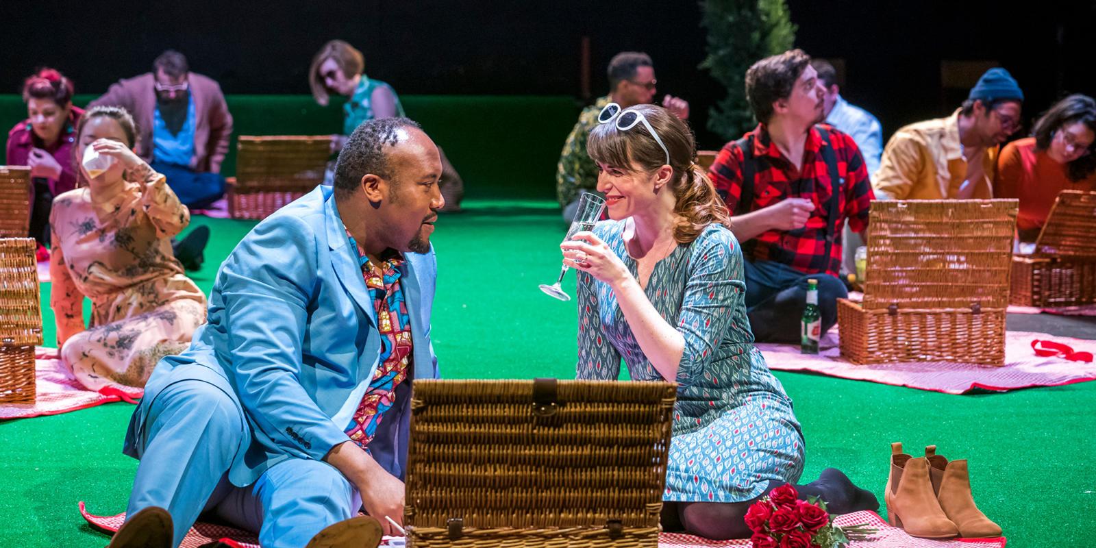 Njabulo Madlala as Aeneas, Rachael Lloyd as Dido in Dido at the Unicorn Theatre. Photo Tristram Kenton