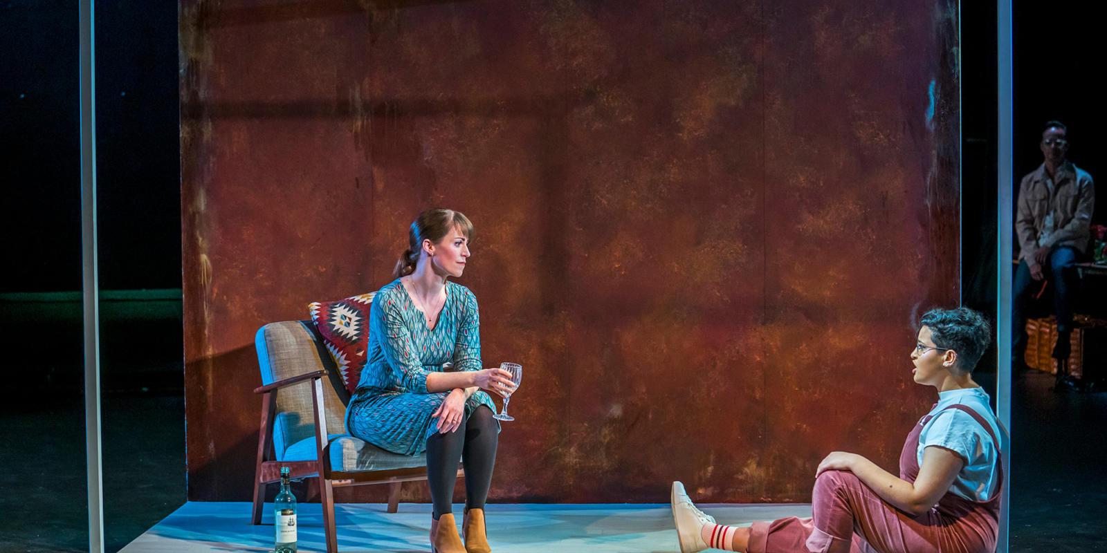 Rachael Lloyd as Dido, Eyra Norman as Belinda in Dido at the Unicorn Theatre. Photo Tristram Kenton