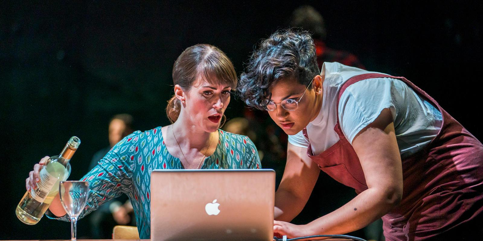 Rachael Lloyd and Eyra Norman in Dido at the Unicorn Theatre. Photo Tristram Kenton