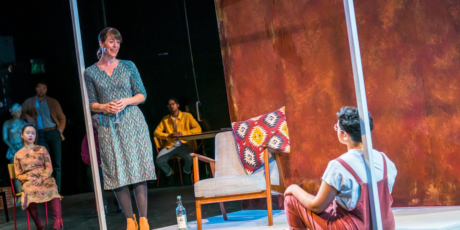 Rachael Lloyd, Eyra Norman and chorus in Dido at the Unicorn Theatre. Photo Tristram Kenton