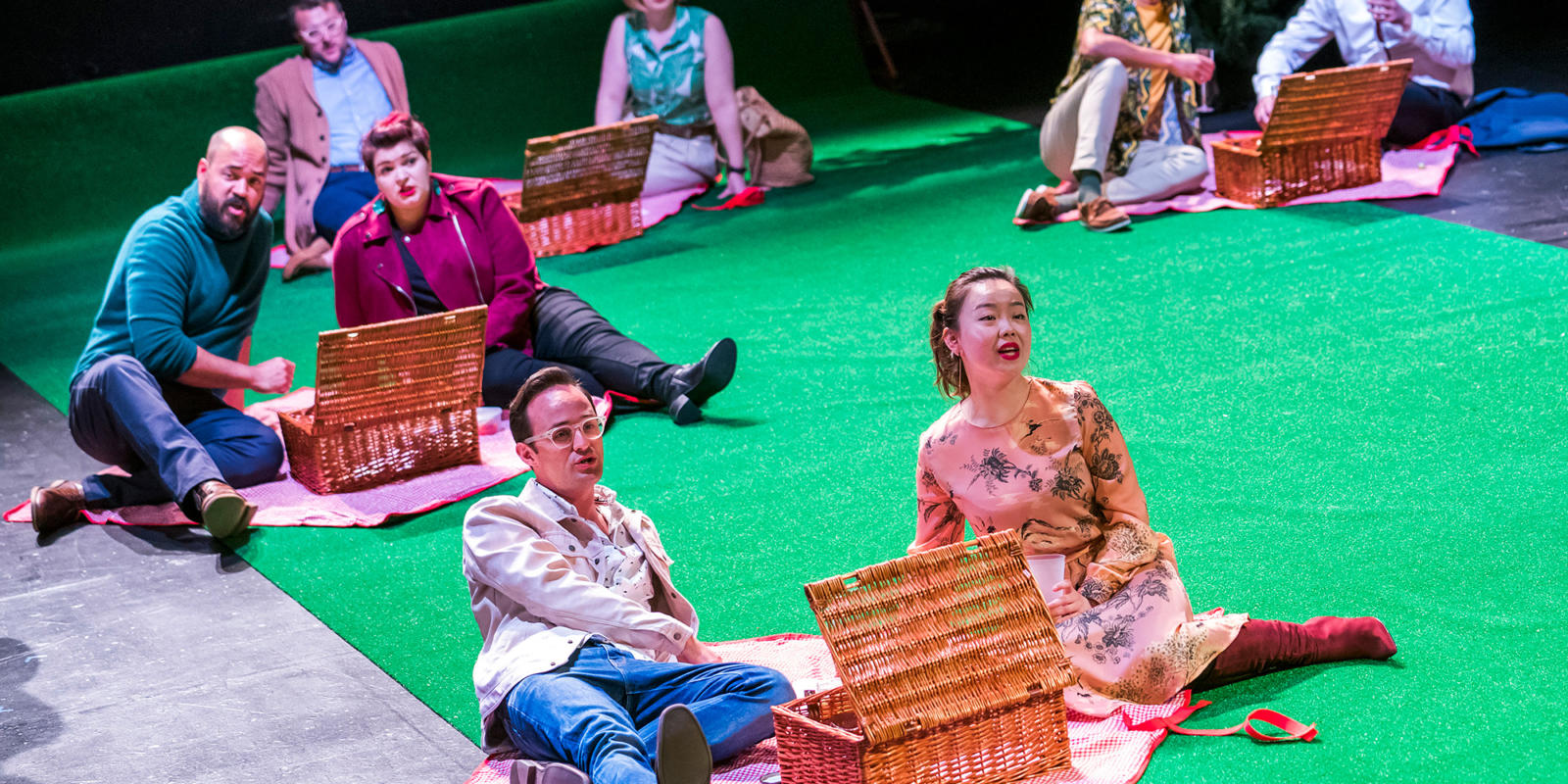Members of the Chorus in Dido at the Unicorn Theatre. Photo Tristram Kenton