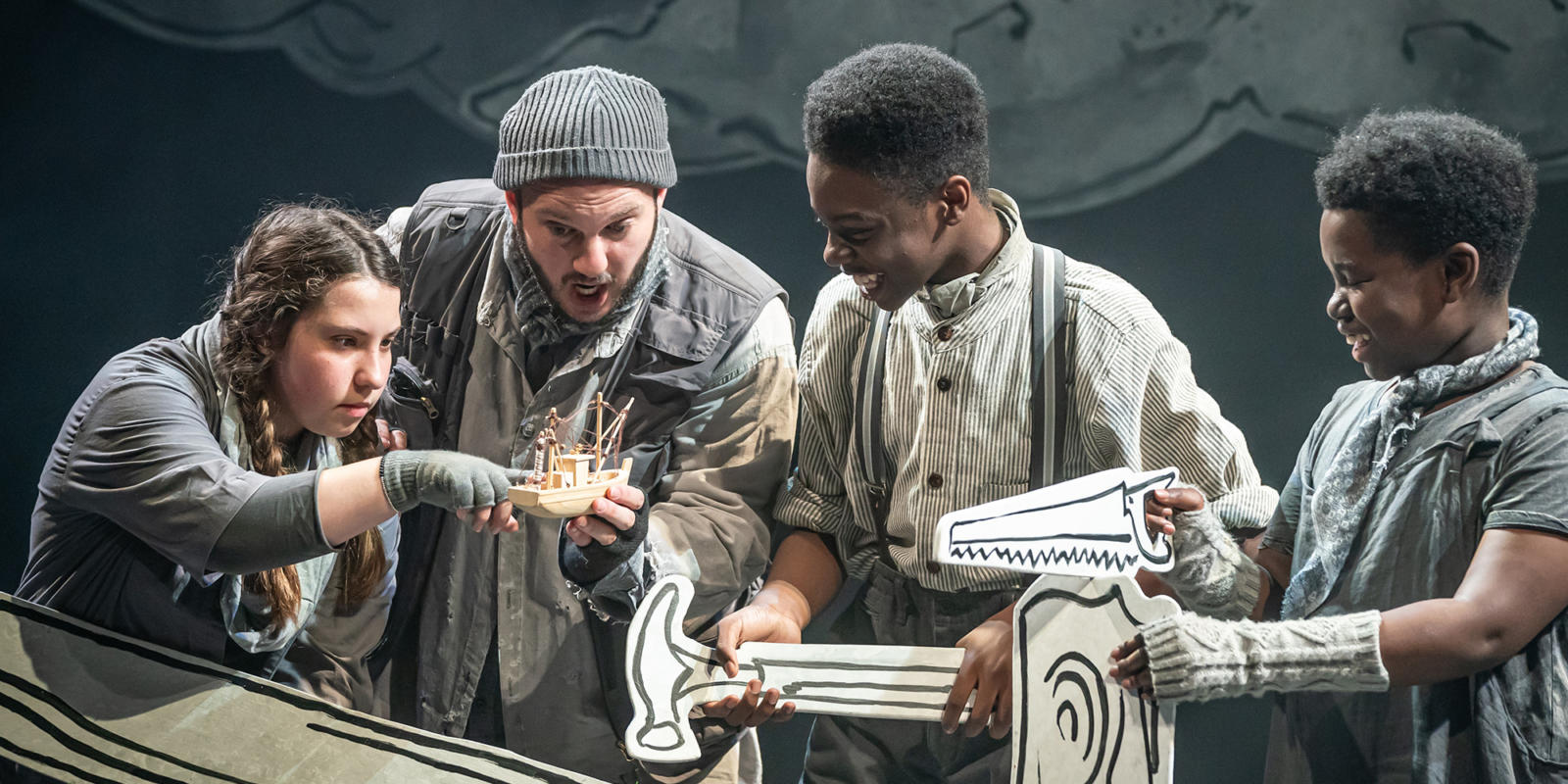 Marcus Farnsworth (Noah) and his Sons in Noye's Fludde at Theatre Royal Stratford East. Photo by Marc Brenner.
