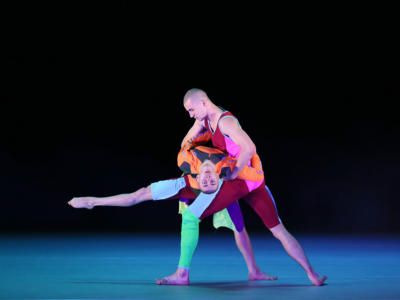 Two male dancers from studio Wayne McGregor