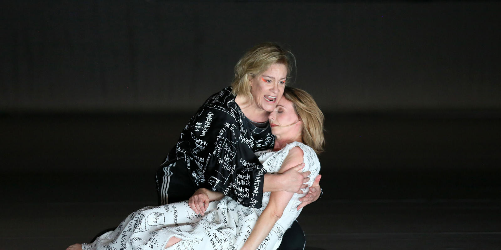 Sarah Tynan and Alice Coote embrace on stage