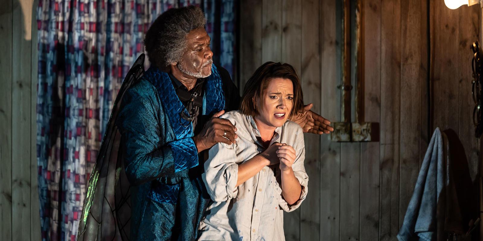 ENO1920 Orpheus in the Underworld: Mary Bevan as Eurydice and Willard White as Jupiter
